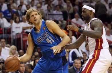 Dirk Nowitzki and LeBron James in the 2011 NBA Finals