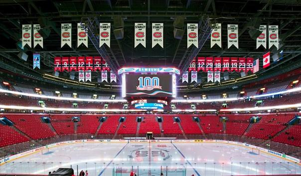 The Bell Centre, Where the Montreal Candiens Play, is Heavy With Championship Pennants