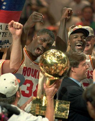 Hakeem Olajuwon and Clyde Drexler of the 1995 Houston Rockets