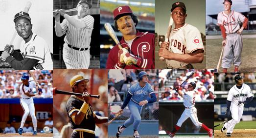 Hank Aaron, Babe Ruth, Mike Schmidt, Willie Mays, Stan Musial, Darryl Strawberry, Willie Stargell, George Brett, Jim Thome and Ken Griffey, Jr. (clockwise from top left)