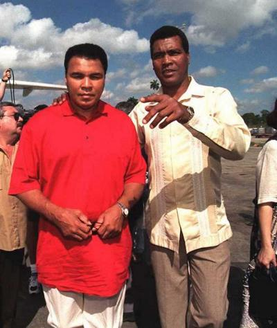 Muhammad Ali and Teofilo Stevenson, Olympic Gold Medalists for the USA and Cuba, Respectively