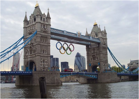 London's Tower Bridge Supporting the Olympic Rings