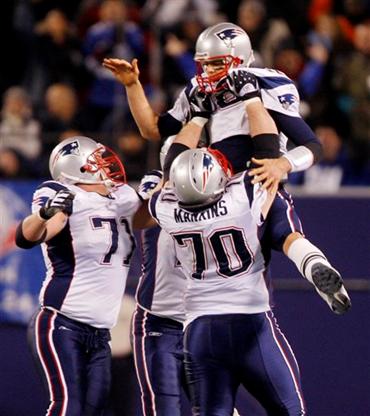 Tom Brady and the New England Patriots Celebrate Brady's 50th Touchdown of the 2007 Season