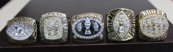 San Francisco 49ers' Five Super Bowl Rings. The Niners are the Most Dominant Team in Super Bowl History.