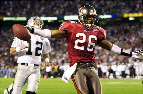 Dwight Smith with One of His Two Interceptions Returned for a Touchdown in Super Bowl XXXVII