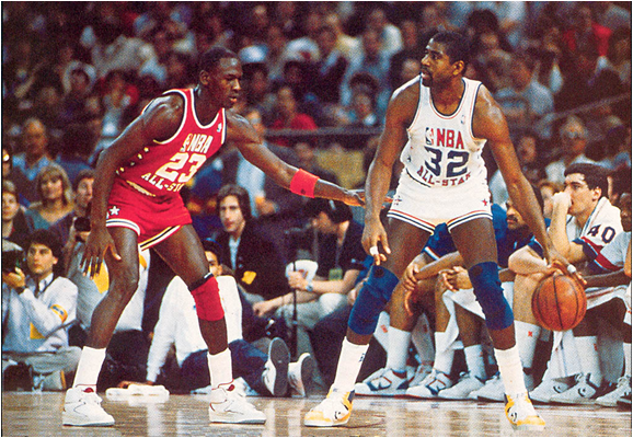 Michael Jordan and Magic Johnson Face-Off in the 1987 NBA All-Star Game