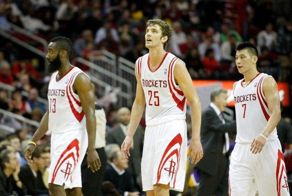The Houston Rockets Tie the NBA Record with 23 Three-Pointers in a Game (l-r. James Harden, Chandler Parsons and Jeremy Lin)
