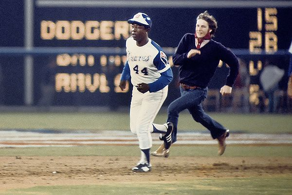Hank Aaron (and Friend) Collecting Four Bases with His 715th Home Run