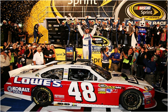 Jimmie Johnson Wins His Fourth NASCAR All-Star Race. Sweet Ride, the Red and White Lowe's 48.