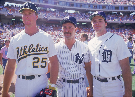 Mark McGwire, Don Mattingly and Matt Nokes in 1987