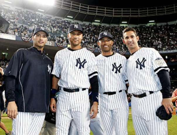Andy Pettitte, Derek Jeter, Mariano Rivera and Jorge Posada All Made Their First Appearances as New York Yankees in 1995. Only Pettite Played for Another Team, the Houston Astros Between 2004 and 2006.