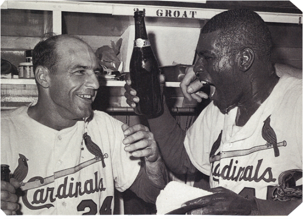 Bob Gibson (r.) with Teammate, Shortstop Dick Groat, Celebrate Winning the 1964 World Series