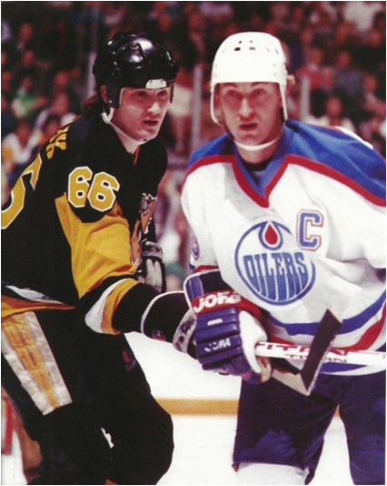 Wayne Gretzky (r.) and Mario Lemieux Averaged 1.92 and 1.88 Points Per Game, the Top Two Marks in NHL History