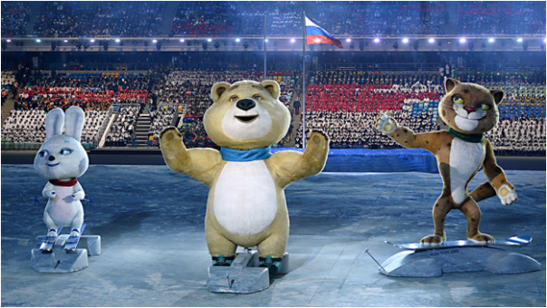 2014 Sochi Winter Olympics Mascots Snow Hare, Polar Bear, Snow Leopard