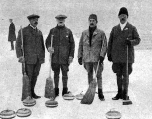 The 1924 Winter Olympics Swedish Curling Team (l. to r.) Karl Erik Wahlberg (49), Carl August Kronlund (58), Carl Axel Pettersson (49), and Johan Petter Ahlen (44)