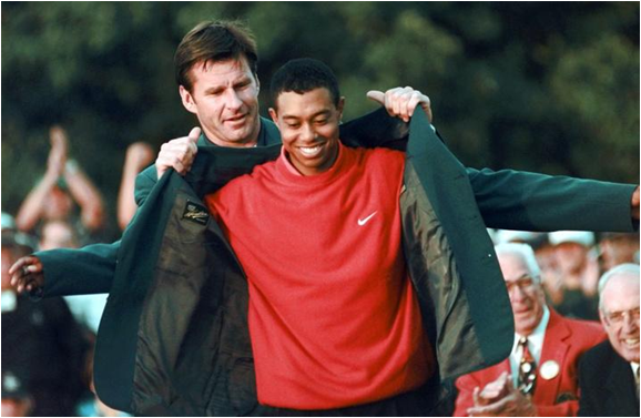 A Big Green Jacket For 21-Year Old Tiger Woods' Big Masters Victory In 1997 - The Biggest Ever