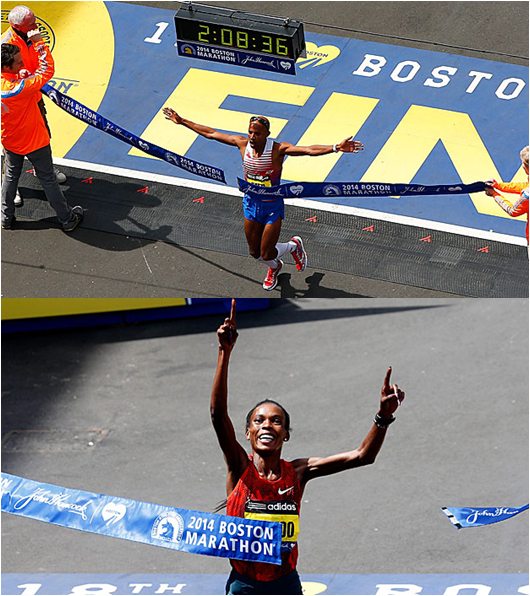 American Meb Keflezighi Has Won The 2014 Boston Marathon With The 10th Fastest Men's Winning Time In History. Keny'a Rita Jeptoo Won It With The Fastest Women's Winning Time Ever.