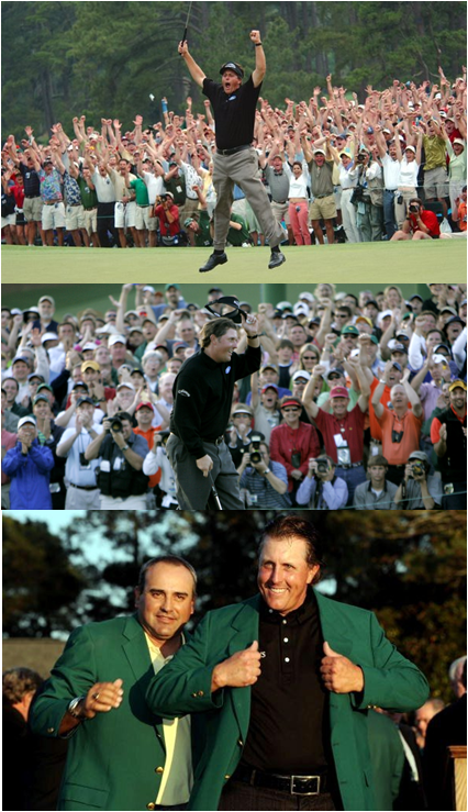 Phil Mickelson Won The Masters In 2004, 2006 and 2010 (Top To Bottom)