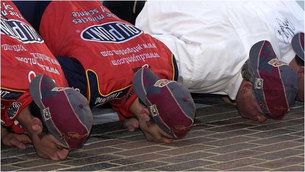 Jeff Gordon Kissing The Bricks After Winning His Fourth Brickyard 400 (2004)