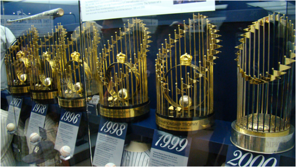 Six Of The New York Yankees' World Series Trophies