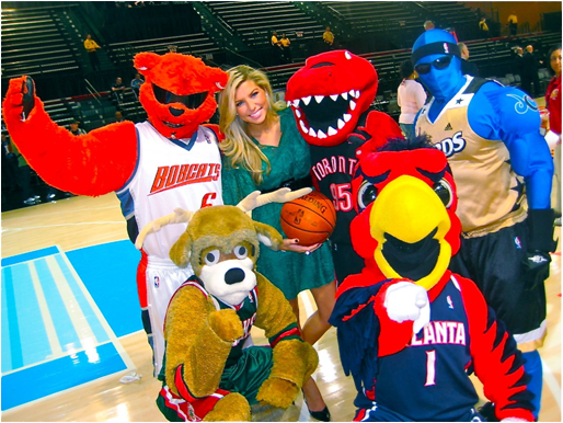 The Charlotte Bobcats Mascot Rufus Lynx Has Been Replaced By Hugo T. Hornet. Also Pictured (Clockwise): The Raptor, G. Man, Harry The Hawk And Bango The Buck.
