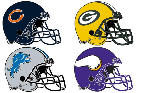 The NFC North (cw.): Chicago Bears, Green Bay Packers, Minnesota Vikings And Detroit Lions