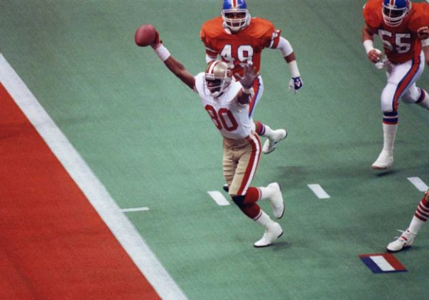 Jerry Rice With One Of His All-Time Leading 22 Postseason Receiving Touchdowns, This One Against The Denver Broncos In Super Bowl XXIV