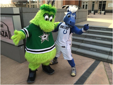 Dallas Stars Mascot Victor E. Green (With Dallas Mavericks Mascot Champ)