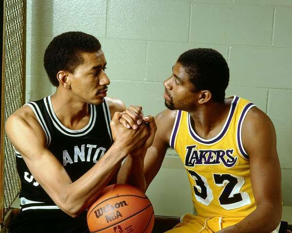 Magic Johnson Played On Three Los Angeles Laker Teams That Swept The Western Conference Finals, Beginning With George Gervin And The San Antonio Spurs