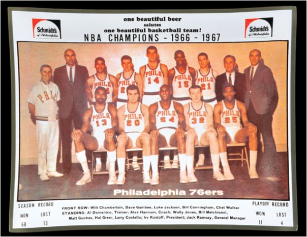 The 1966-67 NBA Champion Philadelphia 76ers, Led By Wilt Chamberlain
